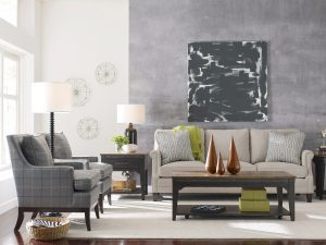 Achieve a modern rustic vibe in your Chattanooga living room with a white sofa with neutral, textured fabric.