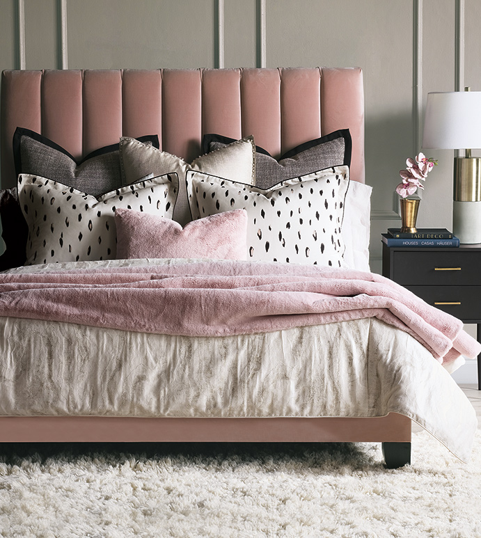 Add a Valentine-inspired feel to your Chattanooga interior design with modern touches like this pink upholstered bed from EF Brannon furniture shop.