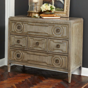 Add interest to your Chattanoga bedroom with a piece like this Handley from Uttermost, boasting eye-catching details, texture, and a light wood stain.