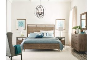 Make a statement in your Chattanooga bedroom with the Linden Panel Bed, a modern blend of solid wood and woven seagrass.