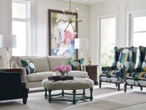 Punch up your Chattanooga interior design by adding color and pattern to rooms that feature lots of grey.
