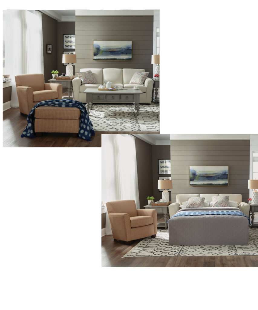 Another benefit of having a sleeper sofa like this one in your Chattanooga living room is they save space.