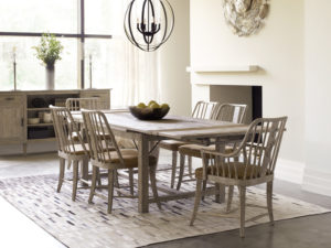 Easy-to-use table with two leafs ticks the functional furniture box for your dining area.