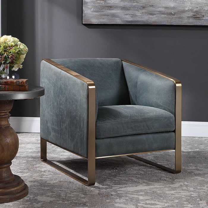 Update your Chattanooga living room furniture with the Uttermost Yvette chair in aged leather.