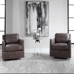 Update your Chattanooga living room furniture with the Uttermost Roosevelt leather chair from EF Brannon.