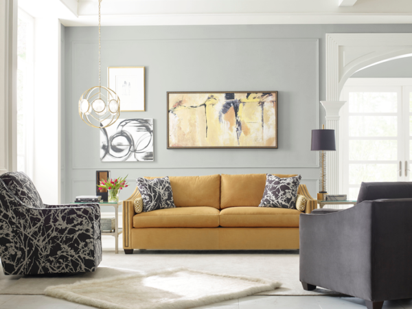 This Kincaid sofa helps make the home decor pop and brings the living room pieces together.