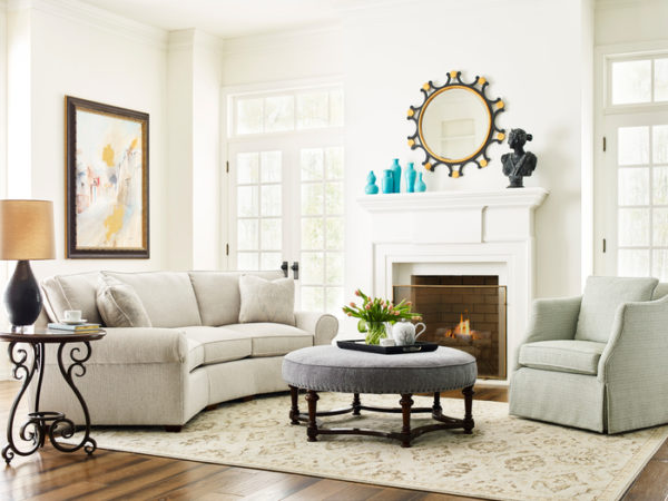 Gray sofa by Kincaid adds the perfect living room furniture touch