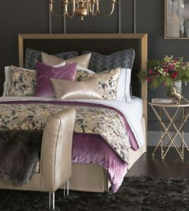 Velvet bedroom furniture by Eastern Accents has that traditional look of modern decor for your home.