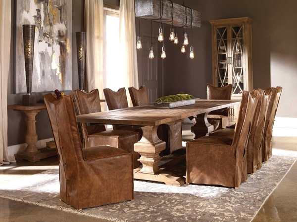 Upholstered dining chairs by Uttermost adding style to the dining room