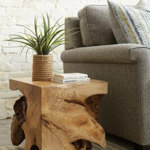 Decor pieces from Hammary showing wood side table.