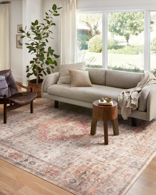 Decor pieces from Loloi show casing area rug for the living room.