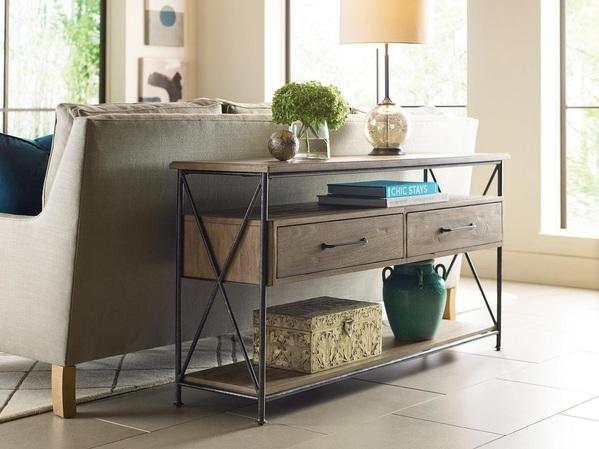 Decor pieces by Kincaid showcasing a modern sofa table.
