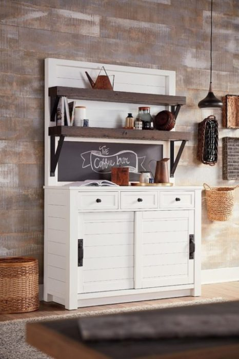 Kitchen showing space saving furniture featuring the Hammary cupboard cabinet