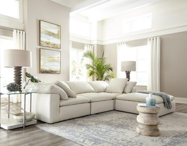 White sofa by Omnia Leather standing out in this new living room makeover