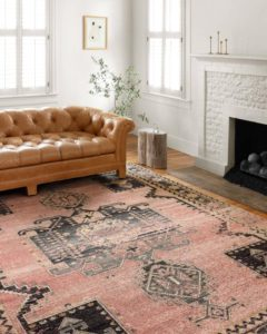 Rose rug by Loloi with pink colors that ties in well for Valentine's Day.