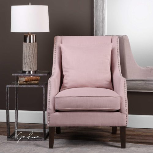 Arieat arm chair by Uttermost has the perfect Valentine's Day pink color.