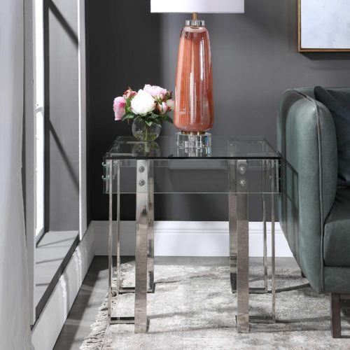 Glass side table by Uttermost to give off a moody home design.