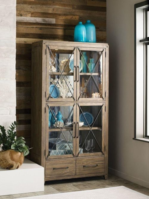 Tall standing dining room storage display cabinet by Kincaid