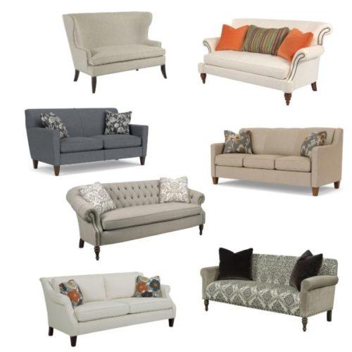 Assortment of living room sofas.