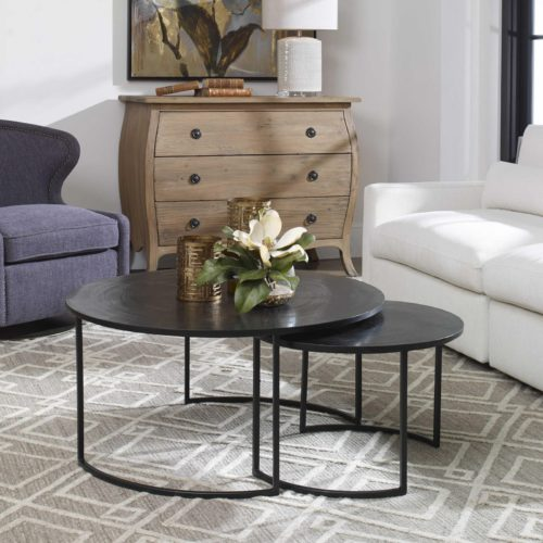 Nesting coffee table by Uttermost used for home decorating