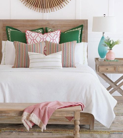 beadspread with pillows and comforter for spring decor
