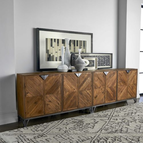 Solid Dining room storage piece from Uttermost displayed in a modern home.