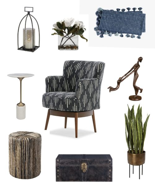 home accents featuring, an accent chair, a chest, and other pieces.