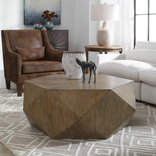 Decorative coffee table by Uttermost adds chicness to the living room.