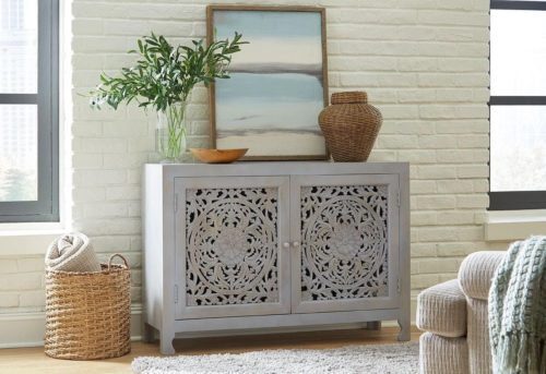 Floral two door console statement piece by Hammary