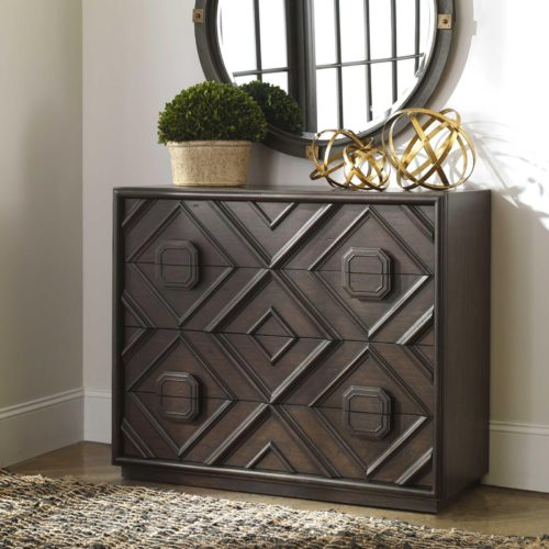 Dark brown four drawer chest statement piece by Uttermost for the home