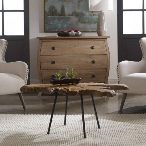 Interior design look by Uttermost featuring a coffee table and console table