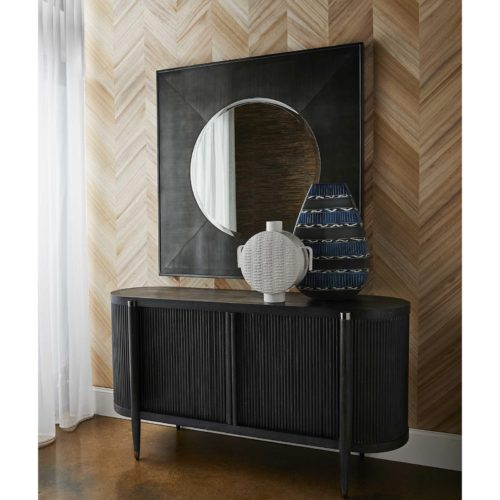 mirror wall decor over entry way cabinet