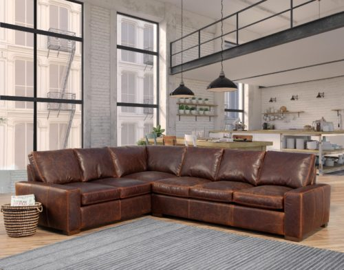 Aged brown leather sofas from Omnia Leather