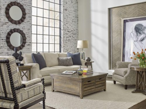 Fun round mirror wall decor for the living room by Kincaid