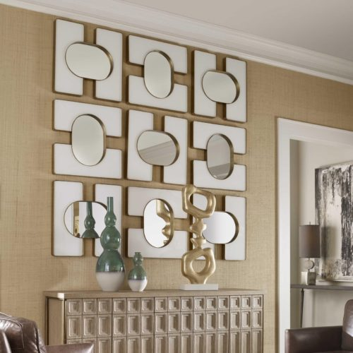 Funky mirror wall decor by Uttermost for the dining room to add a chic look