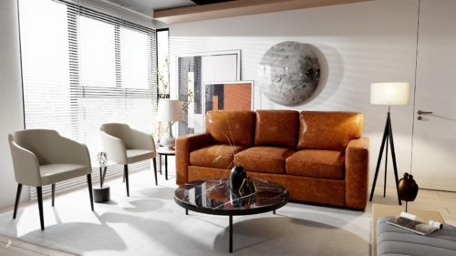 Light brown comfy leather sofas from Omnia Leather