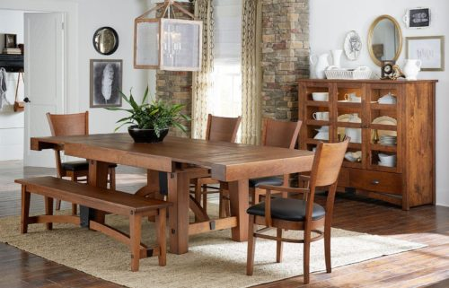 Light brown wood dining room furniture set by Fusion Designs