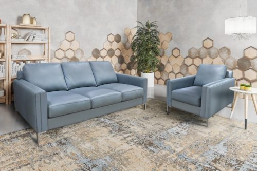 blue chic leather sofas from Omnia