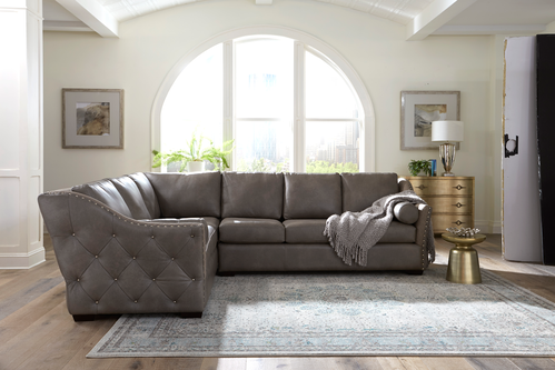 Classic grey leather sofas from Omnia Leather