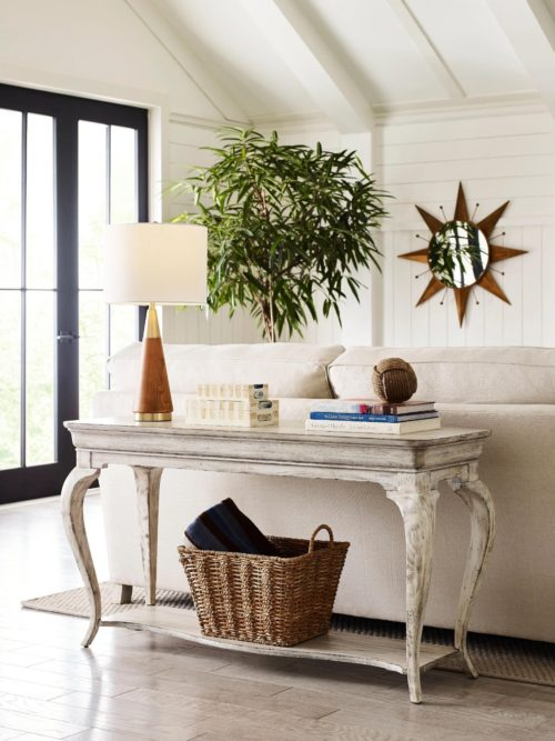 Summer decor with a weather beached look console table