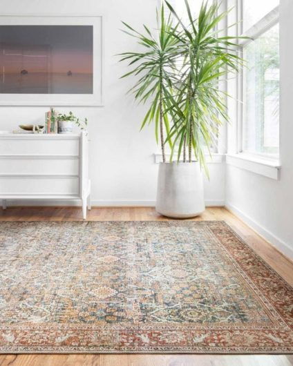 Summer decor themed rug from Loloi with warm tones