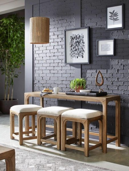 Functional console table also used as a dining table by Hammary as furniture for small spaces.