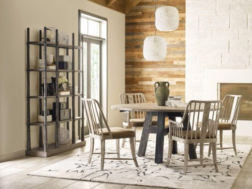 Furniture styles featuring light and dark finishes in the dining room to add depth