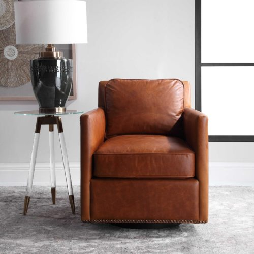 Reddish brown leather furniture chair by Uttermost for the living room
