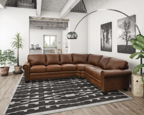 Aged leather furniture sectional by Omnia Leather for the home