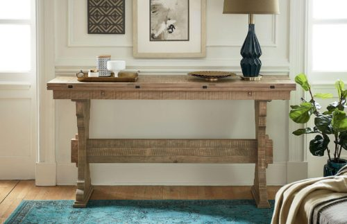 Furniture for small spaces featuring a console table by Hammary for the living room