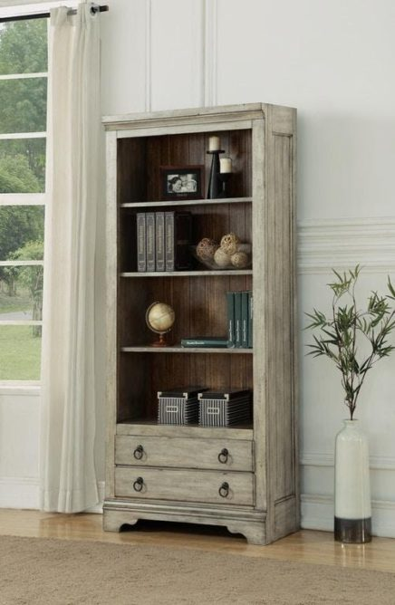 rustic looking bookcase by Flexsteel displayed in a living room for furniture for small spaces.