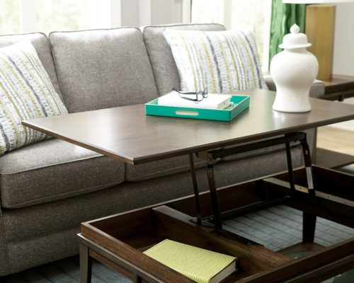 Coffee table that turns into a small eating area by Hammary for furniture for small spaces.