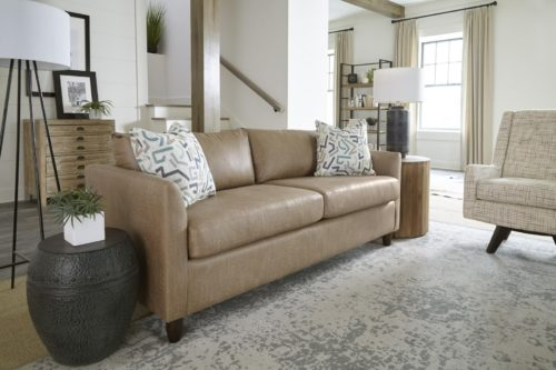 beige leather furniture sofa by Best Home Furnishings