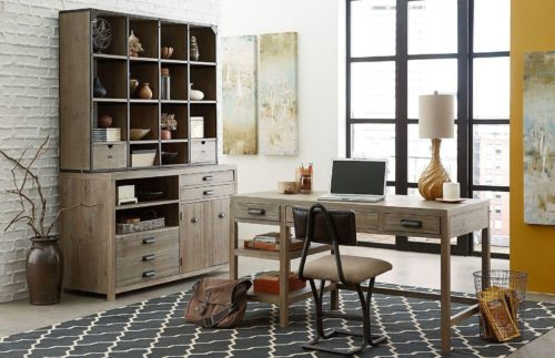 wood crafted desk for the home office
